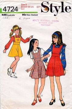 1970s Girl's Pinafore Jumper Dress & Blouse Pattern Style 4724 Child's Vintage…