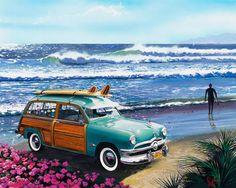 Surf City Canvas Art - Scott Westmoreland x Surf Retro, Vintage Surf, Retro Pop, City Canvas Art, City Art, Painting Prints, Wall Art Prints, Paintings, Watercolor Painting