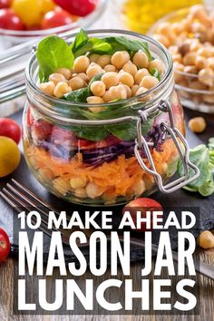 Meal Prep Sundays: 50 Packable Mason Jar Meals for Weight Loss 10 Mason Jar Salad Recipes Mason Jar Lunch, Mason Jar Meals, Meals In A Jar, Mason Jars, Mason Jar Recipes, Salad Recipes, Diet Recipes, Healthy Recipes, Diet Meals