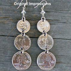 Coin earrings dime nickel quarter dangly ear rings on sterling silver ear wires… Penny Jewelry, Coin Jewelry, Wire Jewelry, Jewelry Crafts, Beaded Jewelry, Jewelery, Jewelry Necklaces, Handmade Jewelry, Jewelry Ideas