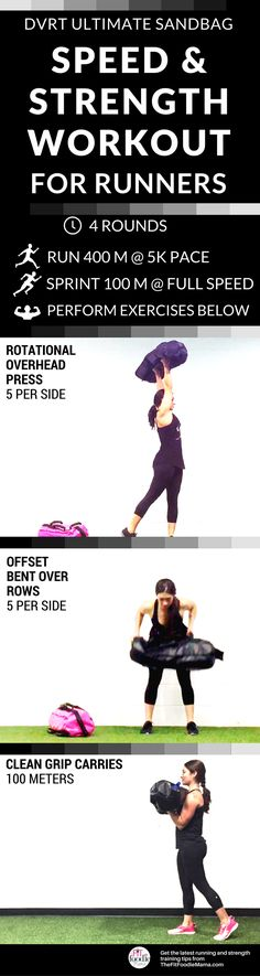 DVRT Ultimate Sandbag Speed and Strength Workout for Runners.  Improve your race pace so you can PR your next 5k with this track and strength exercise workout!