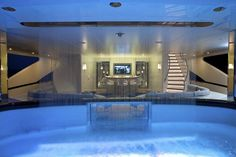 This is a pool inside of the Quinta Essentia yacht. Quinta Essentia yacht for sale. Full details and pictures - Boat International Luxury Yachts For Sale, Yacht For Sale, Yacht World, Yacht Builders, Yacht Cruises, Yacht Interior, Yacht Boat, Boat Design, Yacht Design
