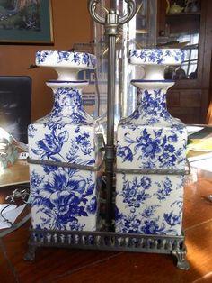 Vintage Blue Decanters Liquor   Italian. via Etsy.
