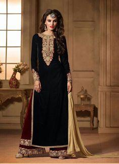 Velvet Black Color Incredible Unstitched Salwar Kameez   https://www.designersareesuite.com/catalog/product/view/id/26550/s/velvet-black-color-incredible-unstitched-salwar-kameez/category/40/#.VmMCftIrLIU
