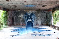 Amazing bit of street art - an electric blue face 'melting' into a chasm. Surreal and a bit freaky.