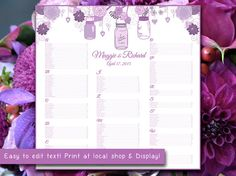 """Rustic Wedding Seating Chart Template   Mason Jar Lavender Purple Lilac Word Template   Editable Text   22"""" x 22"""" Wedding Download by PaintTheDayDesigns, $25.00"""