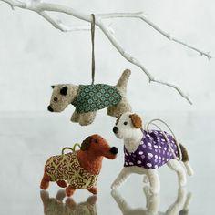 felt dog ornaments | Felt Dog Christmas Tree Ornaments | The Company Store | Puppy Love