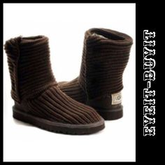 """UGG Australia Classic Cardy Knit Boot 🐴Simply Beautiful!!!🐴 Chocolate in color; pull on design; heather merino wool blend fabric; functional """"UGG labeled"""" wooden buttons; suede heel w/UGG logo; genuine sheepskin sockliner/insole; EVA blown rubber outsole for lightweight comfort & cushion. Eye-It...Buy-It✌🏾️ UGG Shoes Winter & Rain Boots"""