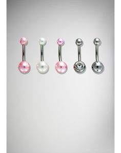 14 Gauge Pink, Silver, and Gem Belly Button Rings