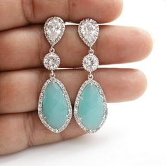 Wedding Jewelry Mint Earrings Bridal Earrings by poetryjewelry- ummmm I think these might be a must !