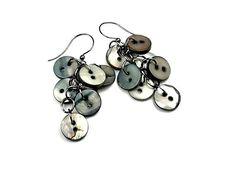 Grey Button Earrings Gray Dangle Earrings Repurposed