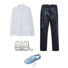 Massimo Dutti combined striped shirt, $90; massimodutti.com; Tibi pleated cropped pant, $455; modaoperandi.com; Adidas x Stan Smith x Raf Simons low-top sneakers, $445; For information: bloomingdales.com; Paula Cademartori cross body bag, $1,217; For information: paulacademartori.com - Photo: (Clockwise from left) Courtesy of Massimo Dutti; Courtesy of modaoperandi.com; Courtesy of Adidas x Stan Smith; Courtesy of Paula Cademartori