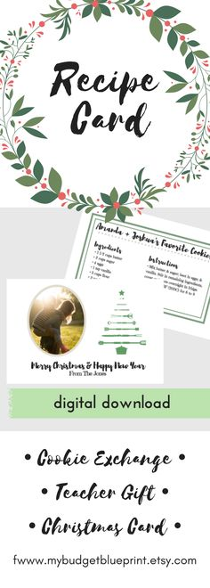 christmas recipe card printable cookie exchange gift tags recipe and photo