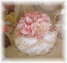 Shabby Faux Romantic Rose Cake-Faux Cake,easter rose shabby chic