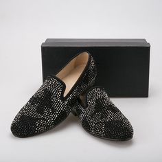 8aa8f29c85e Details about Men Black Velvet Loafers Crystal Slippers Slip on Loafers  Shoes