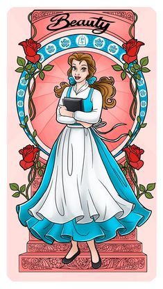 Belle - Art Nouveau by Paola-Tosca on DeviantArt Film Disney, Arte Disney, Disney Fan Art, Disney Girls, Disney Love, Disney Magic, Disney Couples, Disney Princess Belle, Disney Princess Drawings