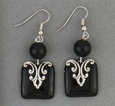 Simply Whispers jewelry pierced earrings silver French hook black bead antiqued silver and black square drop