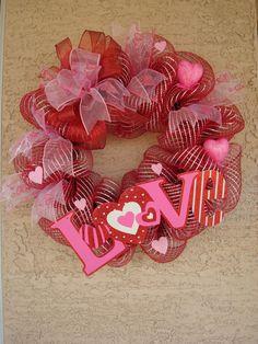 VALENTINE'S DAY Deco Mesh Wreath Arrangement Decoration Valentine's Day Wreath ~ Love Sign ~ on Etsy, $59.99