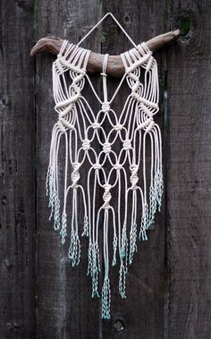 RESERVED FOR SAM Dip Dyed Teal Macramé Wall Hanging on Drift Wood