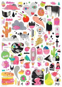 Laura Blythman and Peter Cromer · Enemies Yay - The Design Files Pattern Art, Print Patterns, Cromer, Ecole Art, Love Illustration, The Design Files, Collage Art, Create Collage, Illustrations Posters