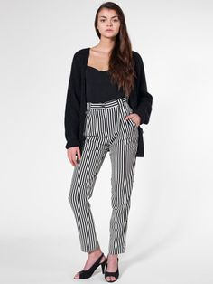 Striped High-Waist Pleated Pant by #AmericanApparel.  #stripes #pants