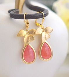 Coral Pink Bridesmaids Earrings in Gold. Wedding Party Gifts.