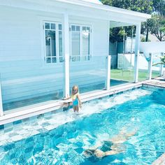 Image may contain: pool and outdoor Backyard Pool Designs, Swimming Pools Backyard, Swimming Pool Designs, Pool Landscaping, Pool Colors, Beach Shack, House Landscape, Cool Pools, Pool Houses