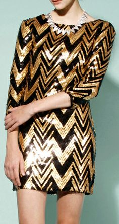 Zig Zag Sequin Dress; Black + Gold // this for NYE.