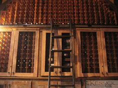 Kessick Wine Racks made from Reclaimed antique barn-wood with rolling library ladder | Wine Cellars - Kessick Wine Cellars | Pinterest | Library ladder ... & Kessick Wine Racks made from Reclaimed antique barn-wood with ...