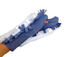 Fingerless Gloves Mohawk Blue White Girl Fashion. $19.50, via Etsy.