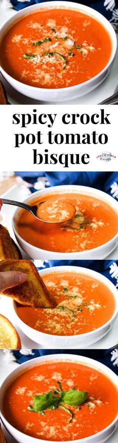 Spicy crock pot tomato bisque is an easy go to comfort food with a kick! add a yummy cheesy grilled cheese for a delicious family dinner comfortfood crockpot slowcooker slow cooker general tso huhn Meat Recipes, Crockpot Recipes, Real Food Recipes, Dinner Recipes, Cooking Recipes, Dinner Crockpot, Yummy Food, Tomato Bisque, Recipe For Mom