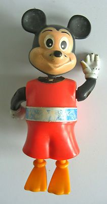 RARE Vintage Disney Mickey Mouse Swimming Toy Figure 1976