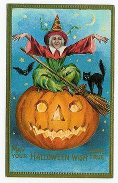 Halloween Postcard Conwell L R Witch black cat bat JOL pumpkin gold trim Boo Halloween, Retro Halloween, Fröhliches Halloween, Vintage Halloween Photos, Halloween Wishes, Halloween Pictures, Vintage Holiday, Holidays Halloween, Halloween Decorations