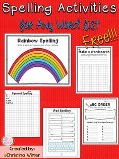 FREE! 5 engaging spelling / word work activities to practice any spelling or sight word list in an elementary classroom.