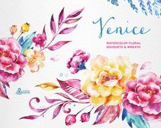 This set of high quality hand painted watercolor floral Bouquets and Wreath in Hires. Perfect graphic for wedding invitations, greeting cards, photos, posters, quotes and more. ----------------------------------------------------------------- INSTANT DOWNLOAD Once payment is cleared,