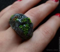 """Купить """"Каменное"""" кольцо - серый, природа, кольцо, пластика, полимерная глина, кольцо ручной работы"""