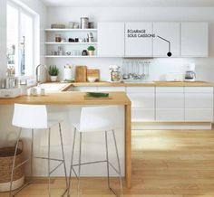 There is no question that designing a new kitchen layout for a large kitchen is much easier than for a small kitchen. A large kitchen provides a designer with adequate space to incorporate many convenient kitchen accessories such as wall ovens, raised. Loft Kitchen, Kitchen Layout, Kitchen Interior, New Kitchen, Kitchen Dining, Kitchen Decor, Kitchen Ideas, Kitchen Small, Kitchen Wood