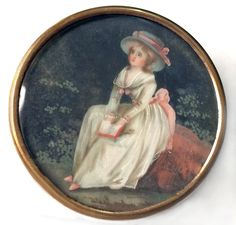 19th C. Gouache Painting Under Glass. Image of a young lady who appears to be in reverie. She is holding what looks to be a handbag or book. Well executed in soft, pastel colors. So pretty. Click to see the detail.