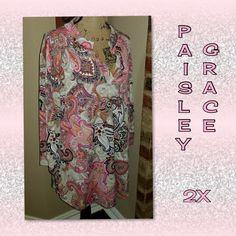 NWOT Paisley Grace Hi-Low Print Tunic 2X - Mercari: BUY & SELL THINGS YOU LOVE