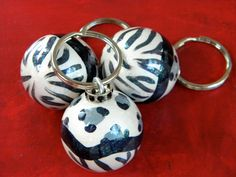 Hand Painted Ball Key Fob with Animal Prints by HazelMartinDesigns, $14.95