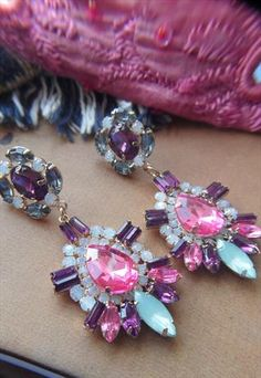 Multi Jewel Drop Earrings