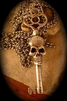 "skeleton key necklace, Double Faced, in Antique Silver on a 24"" Chain (Original Design, Made in NYC)"