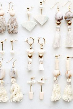 Kathryn Blackmore — Earring samples with pink opal, riverstone, pearl...