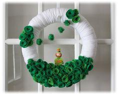 St Patricks Day Yarn Wreath Leprechaun Irish by TheLandofCraft. , via Etsy.