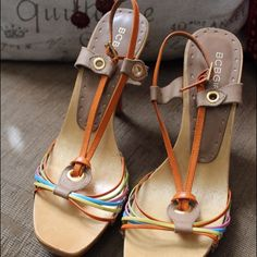 Selling this BCBG Girls Strappy Wooden Heels in my Poshmark closet! My username is: brimyselfandeye. #shopmycloset #poshmark #fashion #shopping #style #forsale #BCBGirls #Shoes