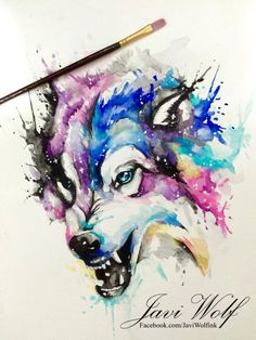 WATERCOLOR WOLF, Pintura de un servidor espero les guste amigos!( Pintura vendida lml ) Drawing by javiwolfinkwww.javiwolf.com