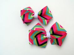 Single or Piggie Set of 2 Boutique Chevron Colors Hair Bows 'SweetXDarlings' on Etsy