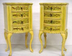 HAND PAINTED QUEEN ANN BOW FRONT COMMODES