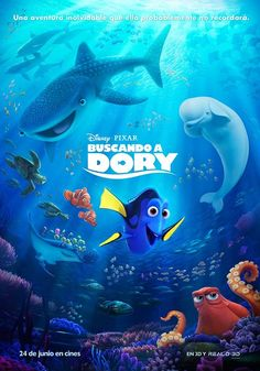"""Un año después de los acontecimientos narrados en """"Buscando a Nemo"""", Dory vive apaciblemente con Marlin y su hijo Nemo. Pero durante un viaje para ver cómo las mantarrayas migran de vuelta a casa ..."""