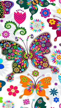 Seamless spring white floral pattern with colorful butterflies and. Cellphone Wallpaper, Wallpaper Backgrounds, Iphone Wallpaper, Butterfly Wallpaper Iphone, Butterfly Pictures, Butterfly Art, Butterfly Background, Butterfly Pattern, Butterfly Design